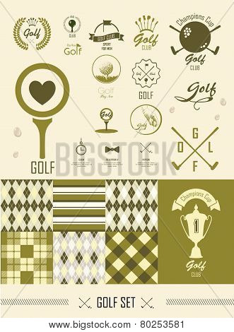Golf. Set Of Vintage Patterns. Vector Set Golfing Champion Labels And Icons. Seamless Backgrounds