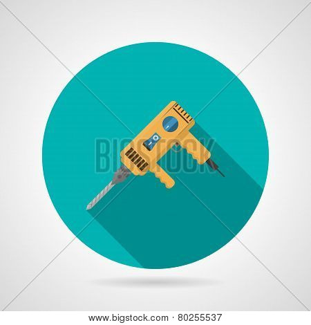 Yellow drill flat vector icon