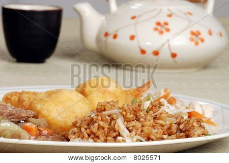 closeup plate of chinese food