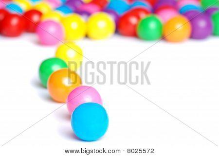 line of gum balls
