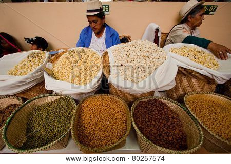Indigenous woman selling mote hominy in Gualaceo Market