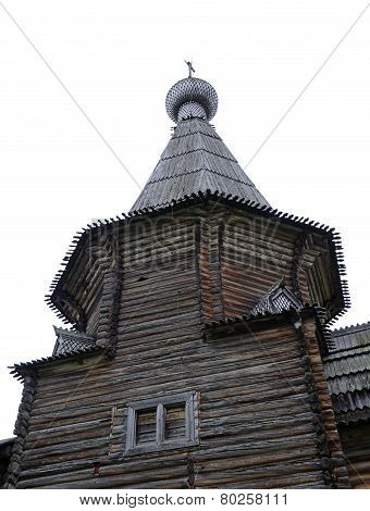 Dome Of Ancient Wooden Church In North Russia Near Kargopol