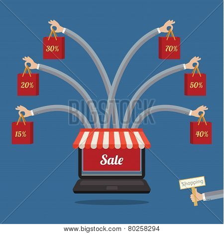 Sale. many-armed laptop on blue