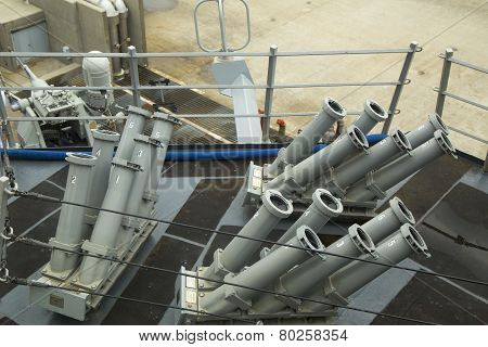 The Seagnat Control System on the deck of US Navy guided-missile destroyer USS McFaul