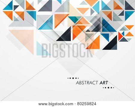 Stylish abstract art design with colorful paper cut outs on grey background for business purpose.