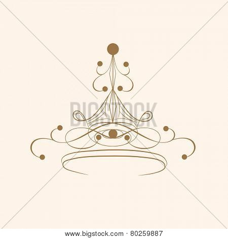 Beautiful crown design on beige background.
