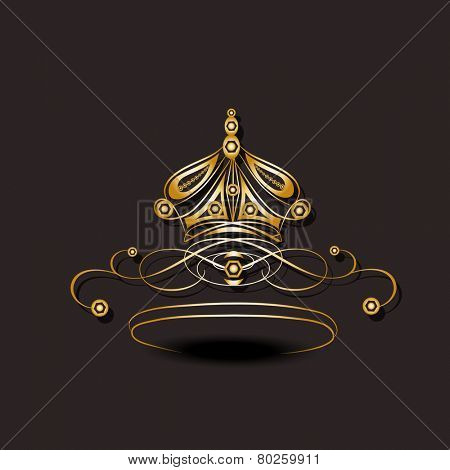 Beautiful floral design decorated crown on brown background.