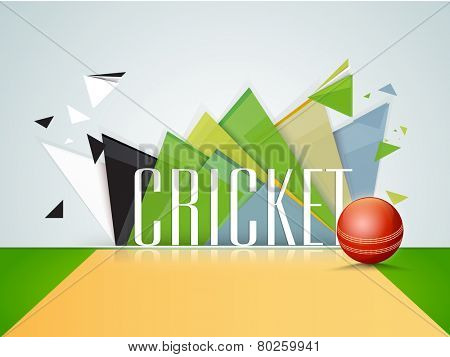 Shiny red ball in stadium with text Cricket on abstract background.