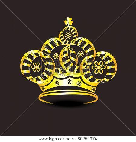 Golden stylish crown design on brown background.