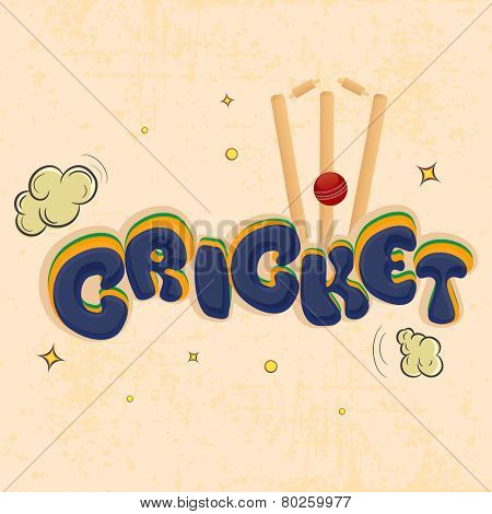 Kiddish text Cricket with red ball hitting wicket stumps on clouds decorated grungy background.