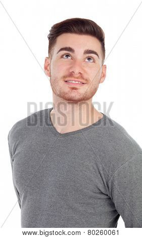 Casual men looking up isolated on a white background