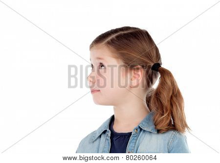 Adorable girl with pigtails looking at side isolated on a white background