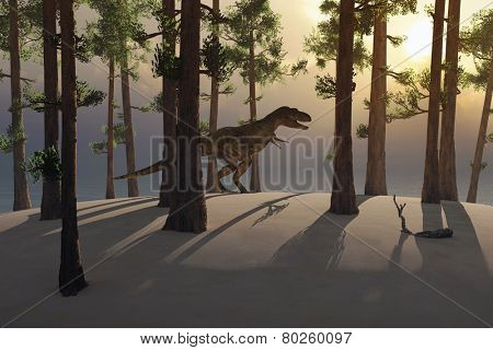 dinosaur walking in the woods