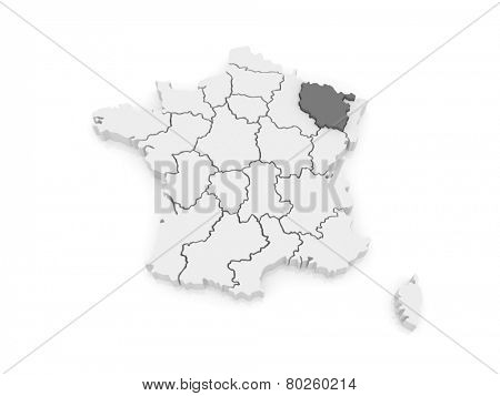 Map of Lorraine. France. 3d