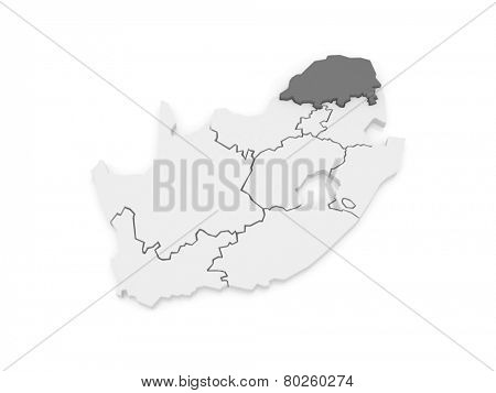 Map of Limpopo (Polokwane). South Africa. 3d