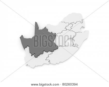 Map of Northern Cape (Kimberley). South Africa. 3d