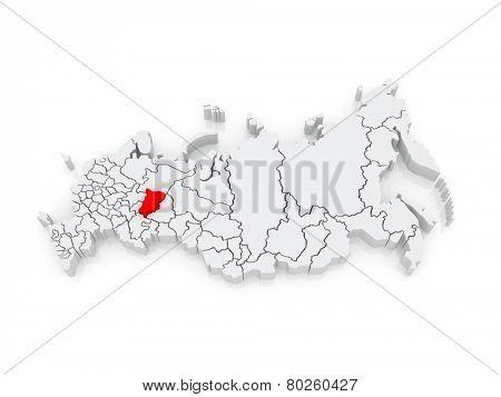Map of the Russian Federation. Perm Krai. 3d