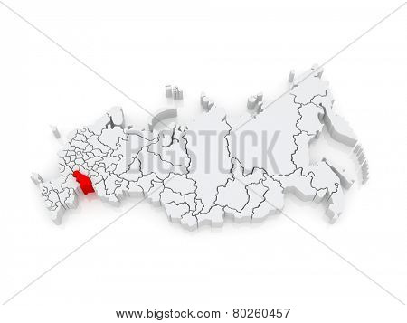 Map of the Russian Federation. Saratov region. 3d
