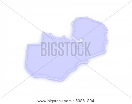 Map of Zambia. 3d