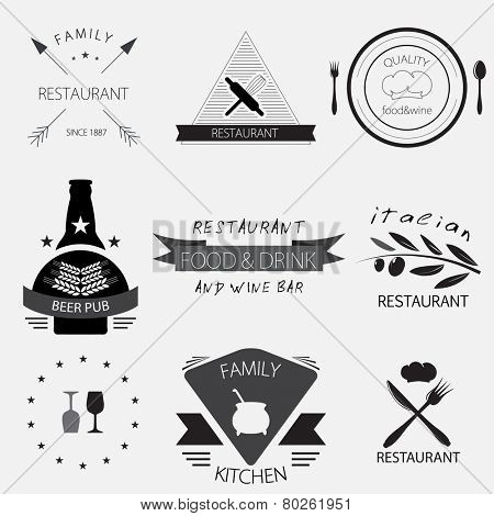 Vintage  set of restaurant, cafe, beer pub or wine bar logos. Vector set of badges, labels and design elements.