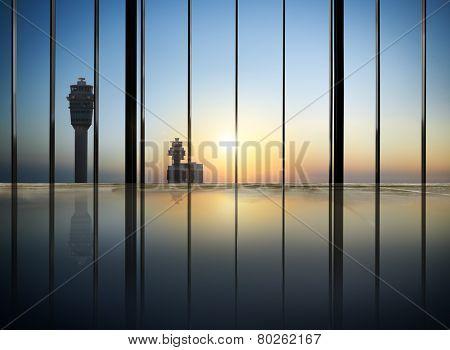 Cityscape Buildings Contemporary Airport Concept