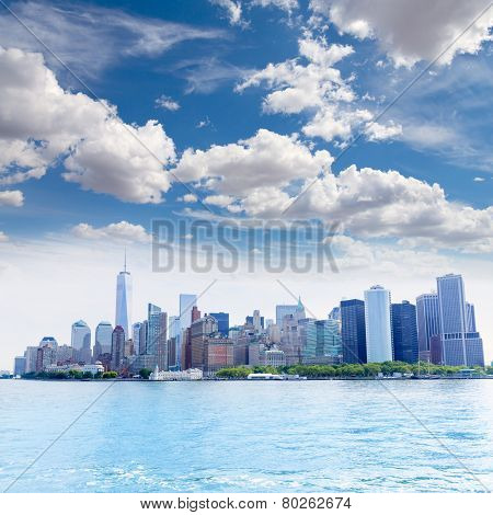 Manhattan New York skyline from NY bay in USA US