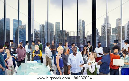 Casual Group Diverse People Office Interaction Working Concept