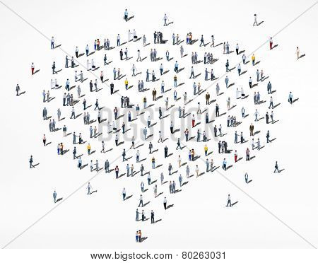 People Diversity Crowd Community Multiethnic Speech Bubble Concept