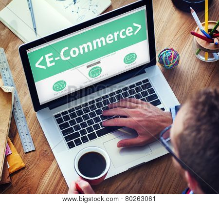 Digital Online Marketing E-Commerce Working Concept