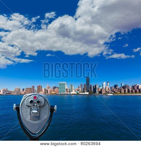 Manhattan New York sunny skyline East River NYC USA telescope photomount