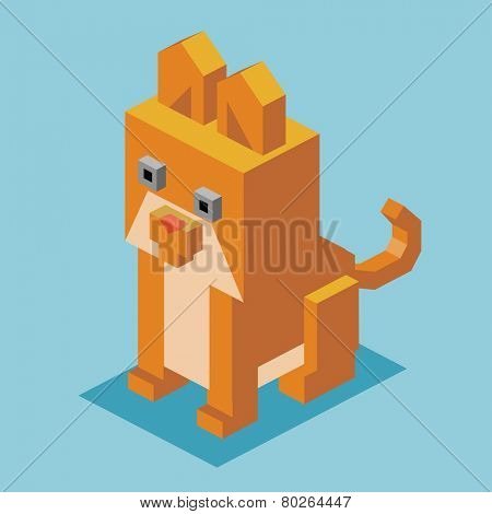 brown cat. 3d flat isometric vector