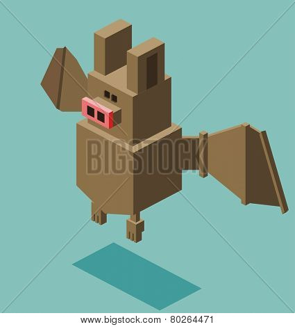 bat. 3d flat isometric vector