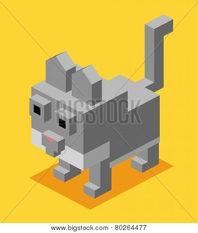 grey cat. 3d flat isometric vector