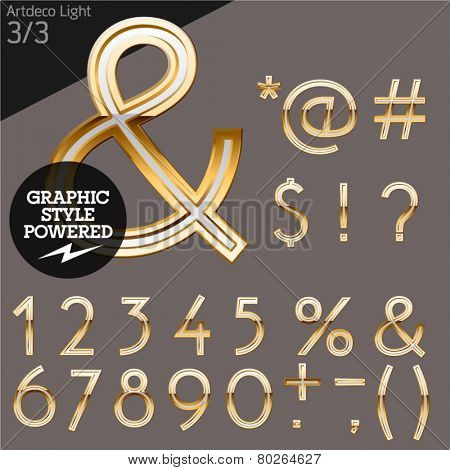 Illustration of golden alphabet. Art deco light. File contains graphic styles available in Illustrator. Set 3