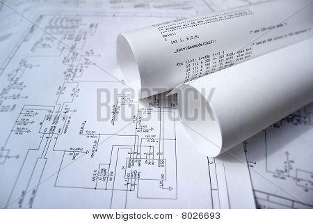 Technologie-Design mit Schaltplan und software