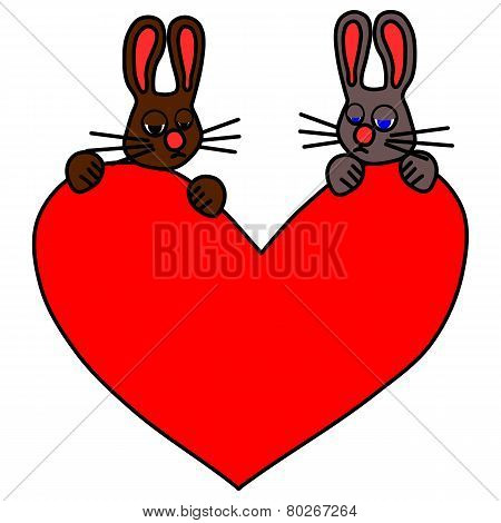 Couple of sad rabbits with big red heart