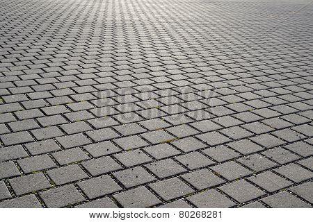 Square brick pavement