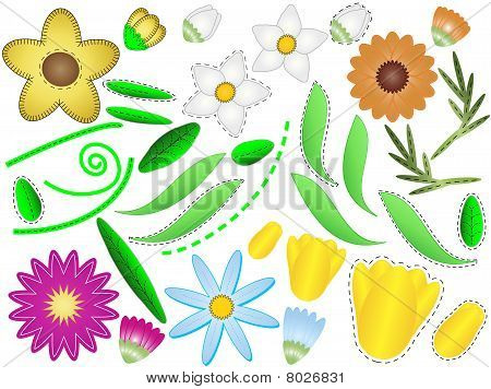 Vector Eps 8 Flowers and Leaves to Design Your Own Project with Quilting Sitiches