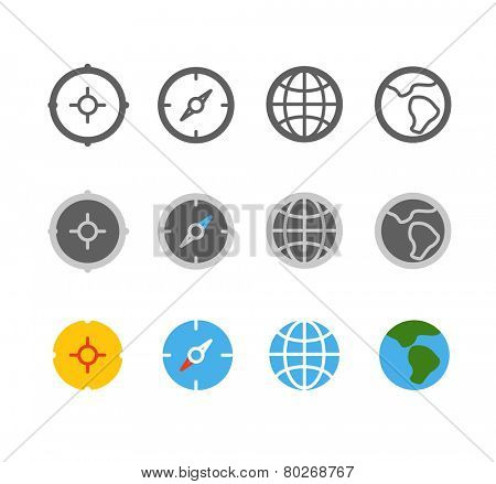 Different circle travel icons clip-art