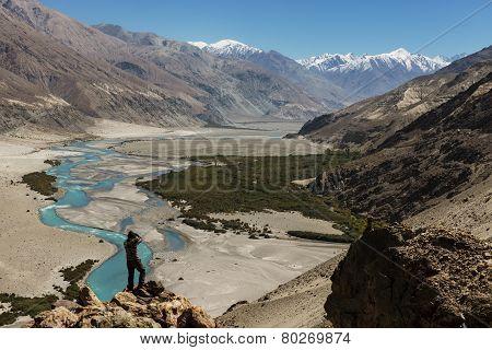 Shyok river in Nubra valley Ladakh ,Jammu & Kashmir, India - September 2014