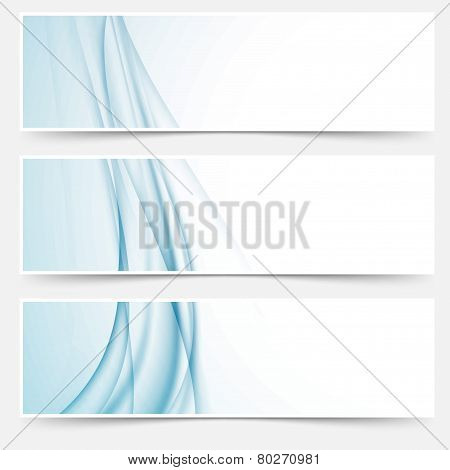Swoosh Blue Modern Abstract Web Element Set