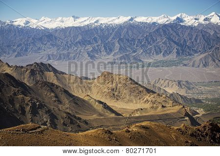 viewpoint snow Mountain range on the way to Khardung La from Leh LADAKH, INDIA - September ,2014