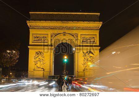 Arch of Triumph of the Star (Arc de Triomphe de l'Etoile) in Paris (France)