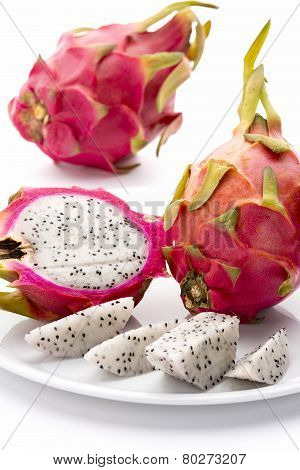 Closeup Of Red-skinned Pitaya And Its Creamy Pulp