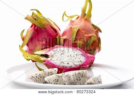 Closeup On Fruit Flesh Of The Dragonfruit On A Plate