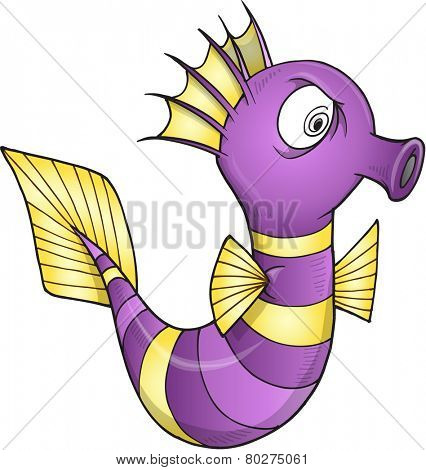 Insane Sea Horse Vector Illustration Art