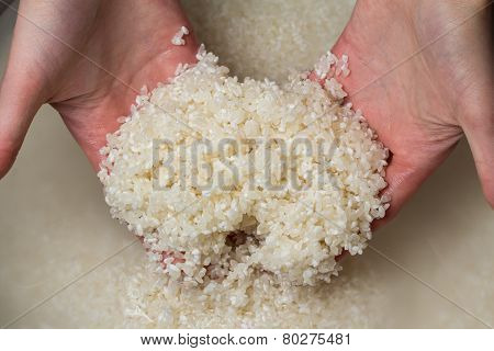 Woman Hands Washing Rice