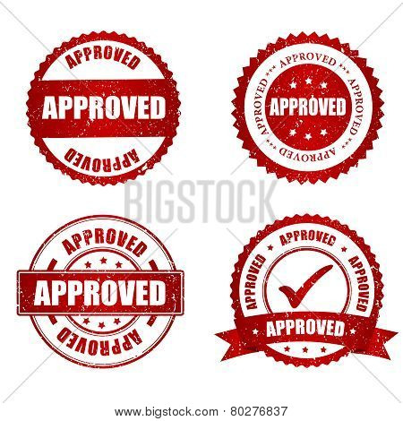 Approved Red Grunge Rubber Stamp Collection