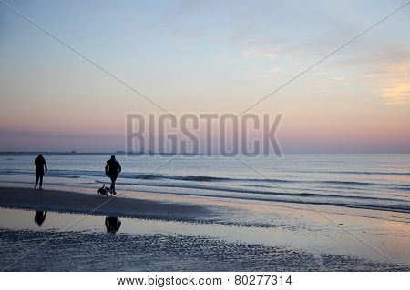 People And Dog On Beach At Sundown In Holland