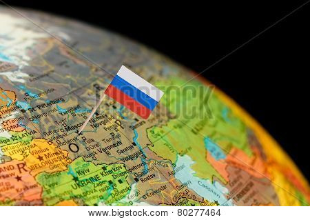 Globe Map Detail Russia With Russian Flag